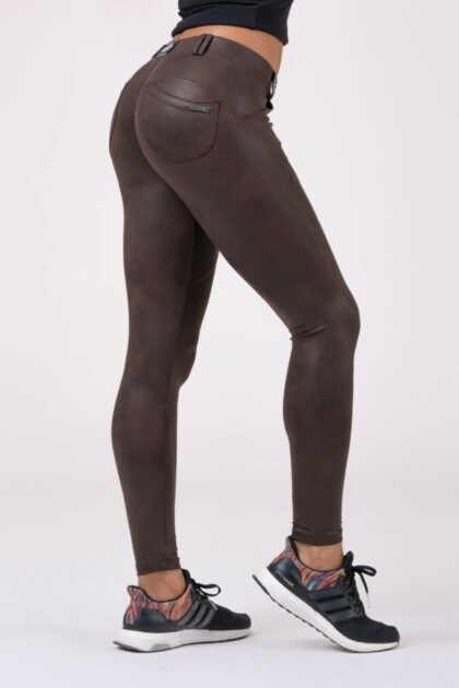 Nebbia Leather Look Bubble Butt Pants