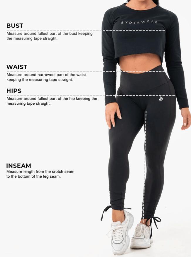 Ryderwear Women Size Chart